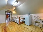 Fall asleep under cathedral ceilings in your comfortable twin bed.