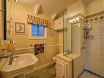 Turn on the heated floors and feel like royalty as you exit the shower.