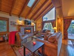 You'll love relaxing under the home's exposed beam ceilings.