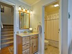 An en-suite bathroom leads right off the master bedroom.