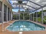 Relax in the screened-in lanai under the warm Florida sun!