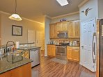 Clean up is easy with stainless steel appliances.