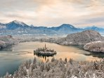 The beautiful Lake Bled from the Ojstrica viewpoint in winter.
