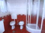 The bathroom is modern and comes complete with a glass shower stall, washbasin, toilet and bidet.
