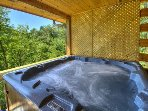 Hot tub covered and private