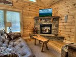 Corner fireplace in living room