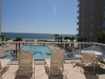 Enjoy view of the Gulf and Pool from the large Balcony area