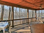 Nestled along the White River, this cabin features a wrap-around porch and easy access to fishing.