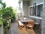 Outdoor Dining with serving hatch to kitchen