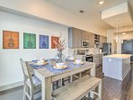 Modern, clean decor and sleek finishes welcome you inside this apartment for 4.