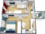 3D Grundriss der Wohnung