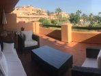 3 piece rattan suite, dining table seating up to 4 and beautiful views over the pool and gardens