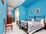 Blue room, twin beds, A/C, door on the terrace