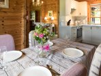 Your kitchen and dining room has everything you need for your luxury self catering log cabin break