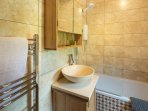 Luxury Family bathroom with over bath shower, towel rail & loo with a view (if you open the window!)