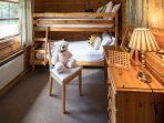 Bunk bedroom, great fun and comfortable too. Children will cherish their log cabin memories here