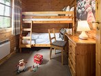 Bedroom 3 is a fun bunk bedroom, great for Children, memorable too, who gets the top bunk?You choose