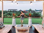 The terrace have a panoramic view on the rice field
