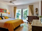 The Master Bedroom overlooking the 40sqm terrace with view to the garden and pool