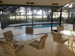 Patio w/ 2 tables, seating for  8+, beautiful views of private golf course. Very relaxing!!
