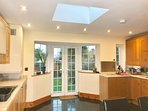 Fully fitted kitchen with garden view