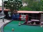 2 hole mini putt,game table and hammock
