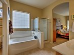 This en-suite bath leads right off the master bedroom.