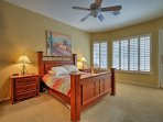 Sleep is sure to come easy while curled up in this queen bed.