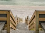Steps to the Sugar Sand Beaches of the Beautiful Gulf of Mexico!  Enjoy your day at the Beach!