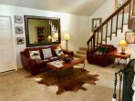 Cow Hide Rug & Designer Leather Couches