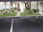 Private covered parking spot in front of unit (Free Parking)
