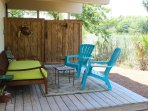 Rinse under the outdoor shower or relax on the outdoor deck.