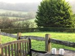 Coffee on the patio. overlooking the lake and Blackmore Vale
