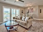 Plenty of natural light in the living room dining room area