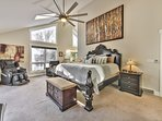 Upper level master bedroom with a Tempurpedic Luxe Breeze king bed, 55' Samsung Smart TV, HD Direct TV with 180...