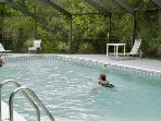 Clubhouse pool in lanai (heated pool) 2 blocks from house