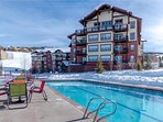 Heated community pool with a large hot tub is available for guest use and open year-round