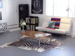 Funky artist loft with unique art and decor