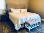 Master bedroom, king bed, 2 nightstands USB charging stations, 2 closets, full dresser, ceiling fan