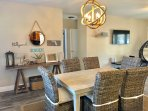 Dining table extends to fit 10 chairs
