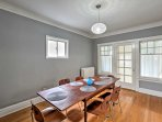 Bring your more formal meals over to the sleek dining room table to bond over a home-cooked meal.