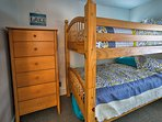 Kids will love sharing the second bedroom, which features a twin-over-twin bunk bed.