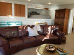 Leather sofa that fits the whole family.