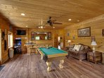 huge game room with full size bar, arcade,pool table full bath
