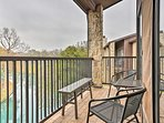 Escape to New Braunfels at this 2-bedroom, 2-bathroom vacation rental condo that's across the street from Schlitterbahn...