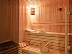 Sauna room on the basement level next to the gym