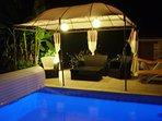 Heated pool at night