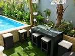 Pool Side Dining and Swim up Bar.