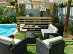 Pool Side Seating and Swim up Bar.