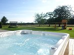 Hot tub with stunning views across the garden